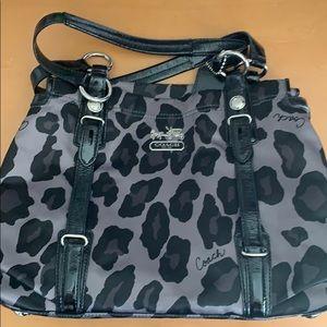 Coach leopard triple compartment bag